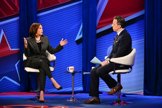 Sen. Kamala Harris speaks with CNN's Jake Tapper on Monday, Jan. 28, 2019, during a town-hall meeting held at Drake University in Des Moines.