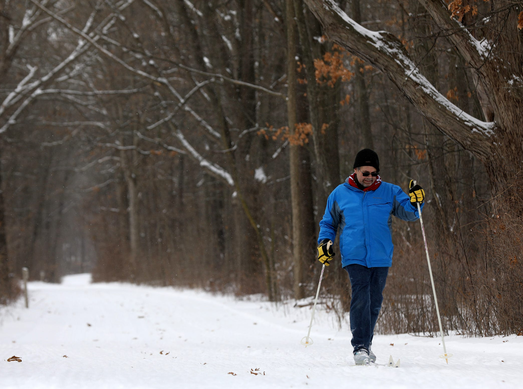 Robert Nichols of Auburn Hills spends part of his morning on the cross country trails at Independence Oaks County Park in the Village of Clarkson, Michigan on Tuesday, January 29, 2019.