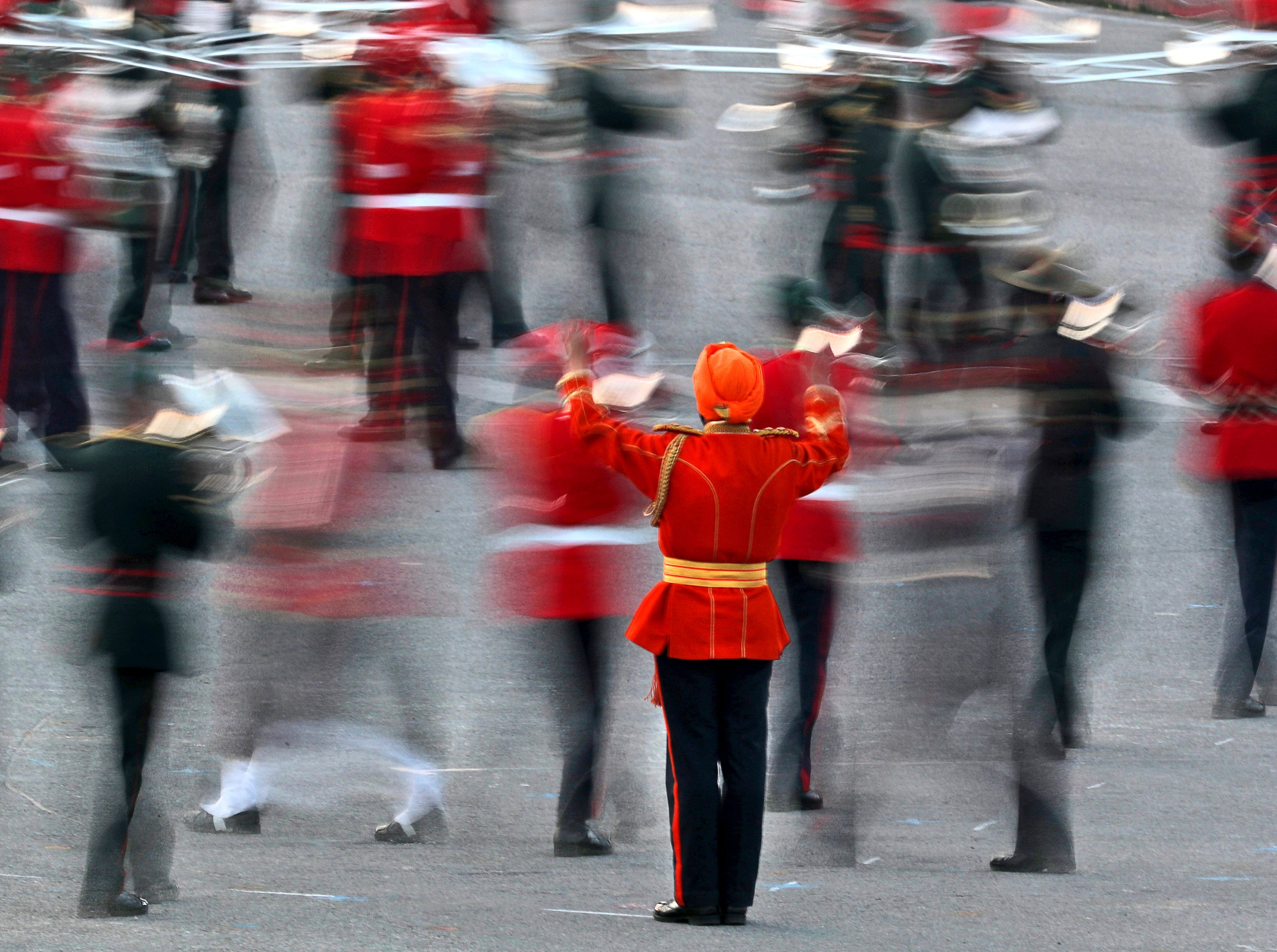 Indian military bands perform during the Beating Retreat ceremony at Raisina Hills, the government seat of power, in New Delhi, India, Tuesday, Jan. 29, 2019. The ceremony marks the end of the annual Republic Day festivities.