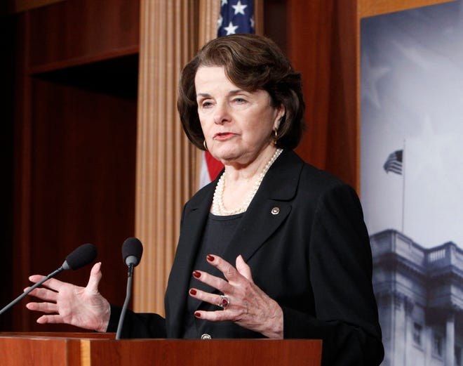 "This photo taken Dec. 21, 2012 photo Sen. Diane Feinstein, D-Cal., chair of the Senate Intelligence Committee, speaking at a Capitol Hill news conference in Washington. Sunday in Washington, Aug. 31, 2014, Feinstein said President Barack Obama may be ""too cautious"" in his approach to dealing with Islamic State militants. Speaking on NBC's ""Meet the Press"" she said that the Defense and State departments have been putting together a response to the threat, and has seen nothing to compare to the viciousness of the militants who have overrun large portions of Iraq, killed civilians and beheaded American journalist James Foley. Feinstein says the Islamic State group has financing, military structure and weapons unlike any other militants and called them ""extraordinarily dangerous."""