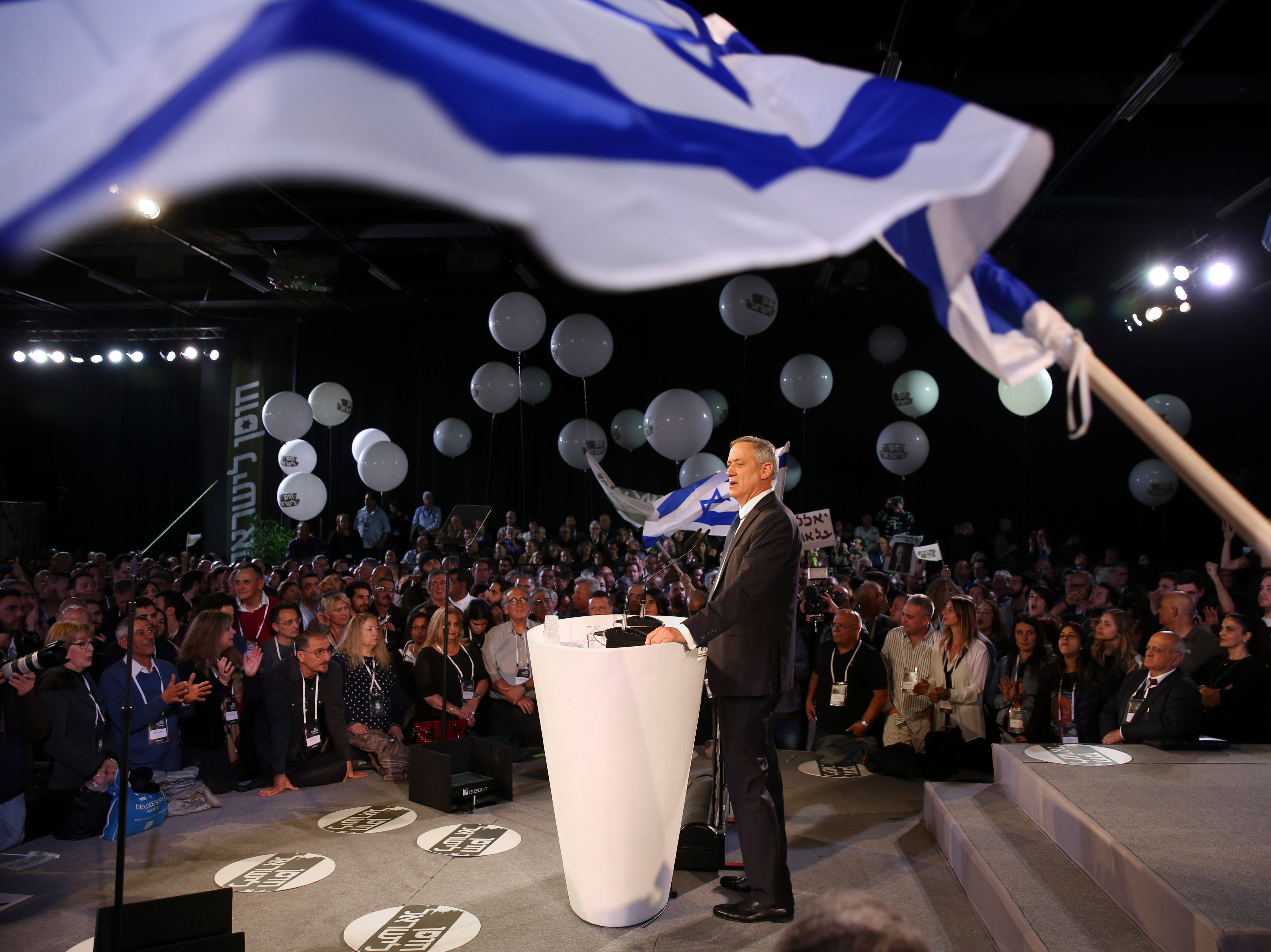 Retired Israeli military chief Benny Gantz speaks at the official launch of his election campaign for the April 2019 elections, in Tel Aviv, Tuesday, Jan. 29, 2019. Gantz positioned himself as the most viable alternative to Prime Minister Benjamin Netanyahu.