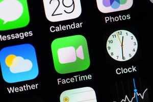 FaceTime on an Iphone screen. -