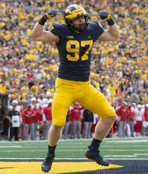 Michigan defensive lineman Aidan Hutchinson hasn't taken well to assistant coach Greg Mattison's departure to rival Ohio State.