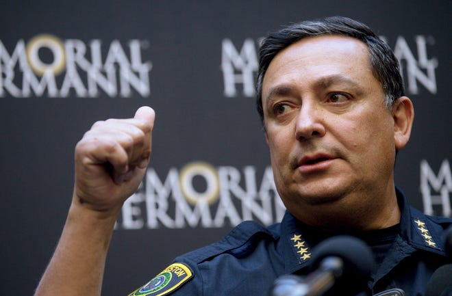 Houston Police Chief Art Acevedo talks to reporters during a news conference at Memorial Hermann Hospital on Tuesday, Jan. 29, 2019 in Houston.