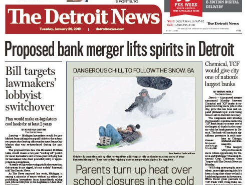 The front page of the Detroit News on January 29, 2019.