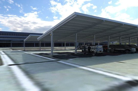 A rendering of what the Evansville Regional Airport's solar energy project could look like. The airport is pursuing a plan to place solar panels on top of a covered parking area.