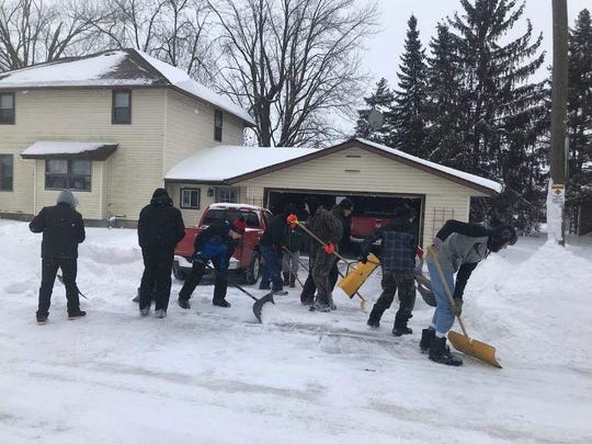 Lomira varsity coach Jon Marx said the team's best record for shoveling a driveway is 2 1/2 to 3 minutes.