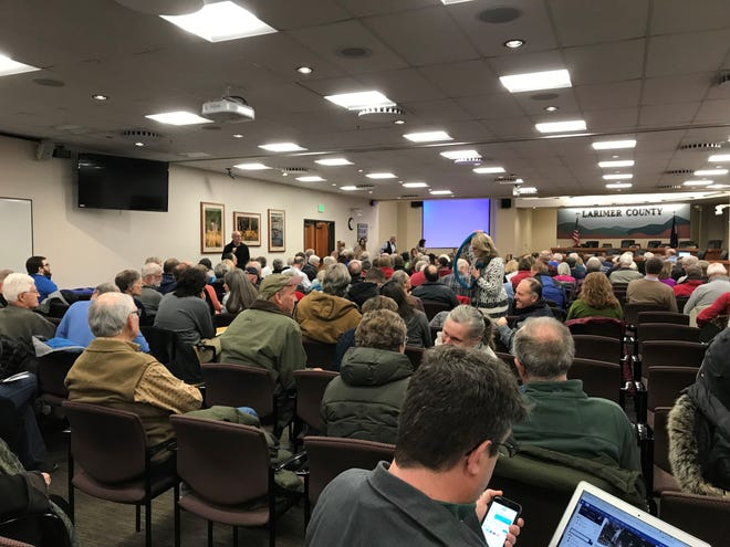 More than 200 people attended the Jan. 28 Larimer County commissioners' public hearing for the proposed Thornton pipeline.