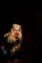 "PJ McCready plays transgender rock singer Hedwig in Lab Theater's ""Hedwig and the Angry Inch."""