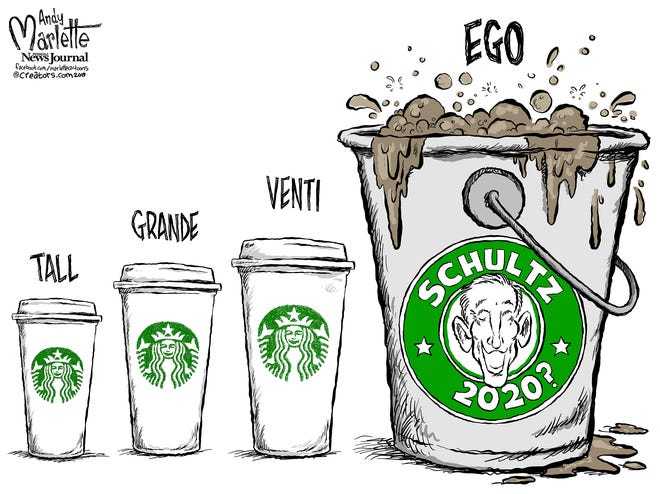 Howard Schulz former Starbucks CEO commentary from Andy Marlette