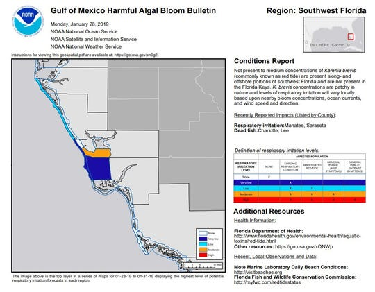 A NOAA forecast map shows red tide conditions along the Southwest coast for Jan. 28, 2018.