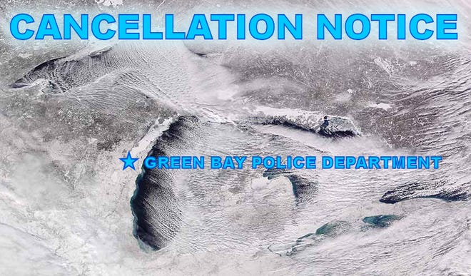 Green Bay Police Department cancellation notice