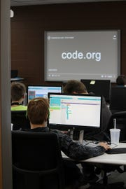 Participants at Hour of Code at Northeast Wisconsin Technical College in December 2018.