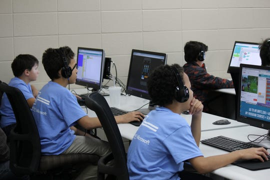 Students participating in Hour of Code at Northeast Wisconsin Technical College in December 2018.