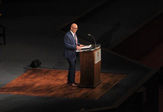 Paul Isaacs, president of Save the Storks, speaks at the Bob Jones University Presidential Leadership series on Jan. 29, 2019.