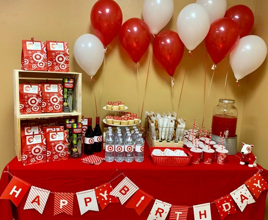 Great Falls' Target gave Jackson a gift of all things Target: a lunchbox, water bottle, a Bullseye toy dog, T-shirt and his own employee name tag. His mom added her own touches for the party incorporating the Target logo.