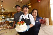 Chef Venus Pascua, center, with Executive Sous Chef Norman Eligio and Caffè Cino Assistant Manager Allyn Matsunanga at the Hilton Guam Resort and Spa, Jan. 29, 2019.