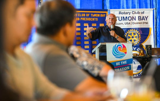 Former governor Carl Gutierrez speak to Rotary Club of Tumon Bay members during their regular luncheon meeting at the Pacific Star Resort & Spa in Tumon on Tuesday, Jan. 29, 2019. Gutierrez has been appointed by Gov. Lou Leon Guerrero to serve in her administration as the Senior Advisor on Economic Development, National Affairs, and International Affairs.