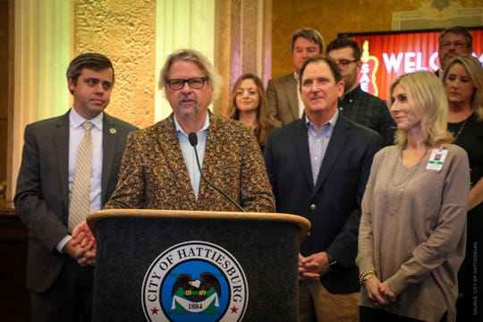 Arden Barnett of Ardenland Music Productions talks about the city's upcoming concert series, accompanied by Mayor Toby Barker, Millie Swan of Forrest Health, Hoppy Cole of The First Bank - A National Banking Association and other community businesses and leaders on Wednesday, Jan. 23, 2019, at the Hattiesburg Saenger Theater.