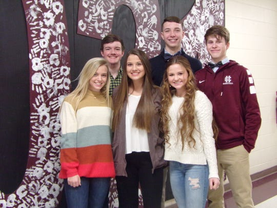 Sophomore Homecoming Court includes: Girls, from left, are Brayden Glick, Emma Humphrey and Cecilia Palummo. Boys, from left, are Colton Evans, Xavier Bugg and Brayden Lyons.