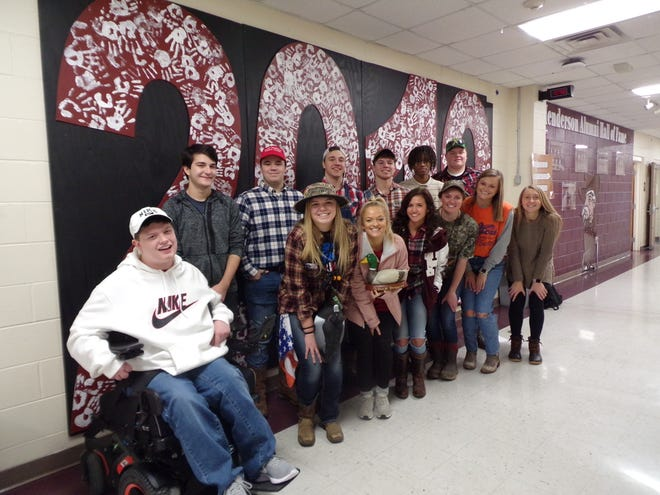 The Senior Homecoming Court includes: Girls, from left, are Salle Stovall, Emma Arnold, Sofia Palummo, Kate McIndoo, Hannah Watkins and Alyssa Dickson. Not Pictured: Carlee Crafton. And boys, from left, are Seth Liles, Wyatt Besse, Hayden Sauer, Will Steiner,  Jackson Hogg, Delano Black and Zach Phelps.