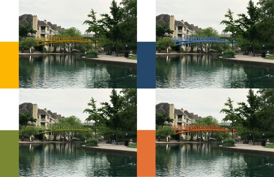 Potential colors of the Downtown Canal's Walnut Street Pedestrian Bridge.