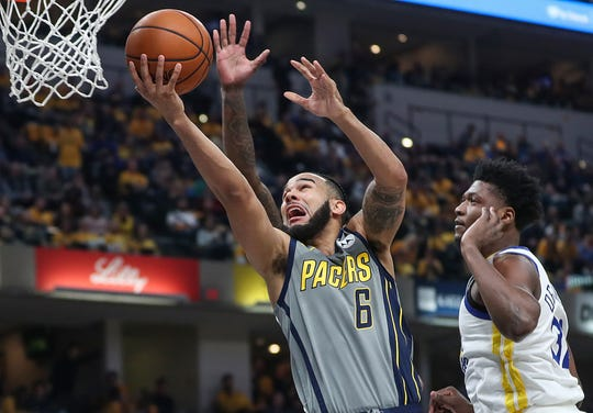 Indiana Pacers guard Cory Joseph (6) takes the ball to the hoop in the first half of the game at Banker's Life Fieldhouse in Indianapolis, Monday, Jan. 28, 2019.