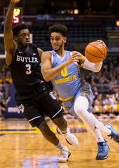 Will Kamar Baldwin (left) and Butler be able to slow Markus Howard on Wednesday night?