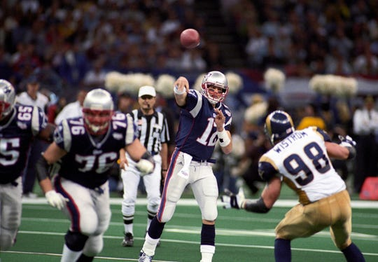 In 2000, the New England Patriots hired Bill Belichick as head coach and drafted QB Tom Brady in the sixth round. Two years later, they would win their first Super Bowl together (XXXVI) and eventually be considered the greatest duo in NFL history, with a 5-3 Super Bowl record by 2018. They will rematch the Los Angeles Rams (formally St. Louis) this year in the Patriots 11th Super Bowl appearance. (pictured: Feb 3, 2002; New Orleans, LA, USA; New England Patriots quarterback Tom Brady (12) in action against the St. Louis Rams during Super Bowl XXXVI at the Louisiana Superdome. The Patriots defeated the Rams 20-17.)