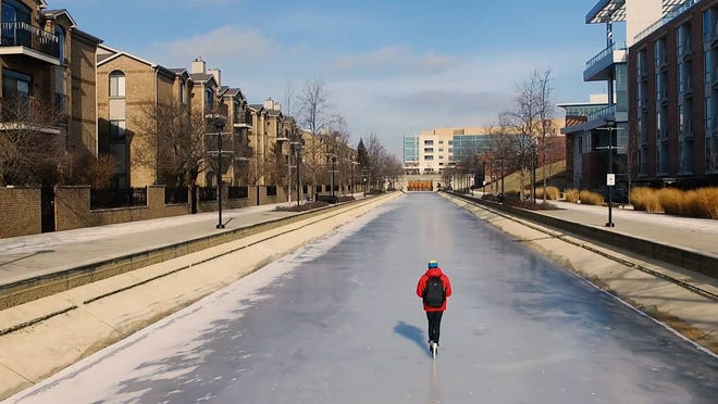Drone photos shot by videographer Quinn Daily of himself, ice skating in the Downtown Canal.