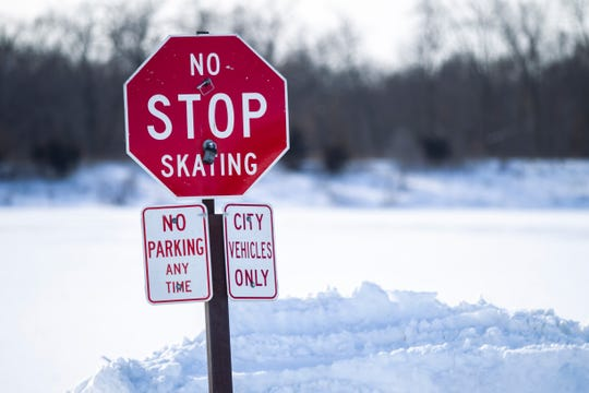 A sign sits outside of Terry Trueblood Recreational Area on Tuesday, Jan. 29, 2019, in Iowa City, Iowa.