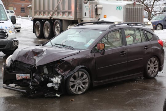 The car involved in a minor accident in Ithaca on Tuesday.