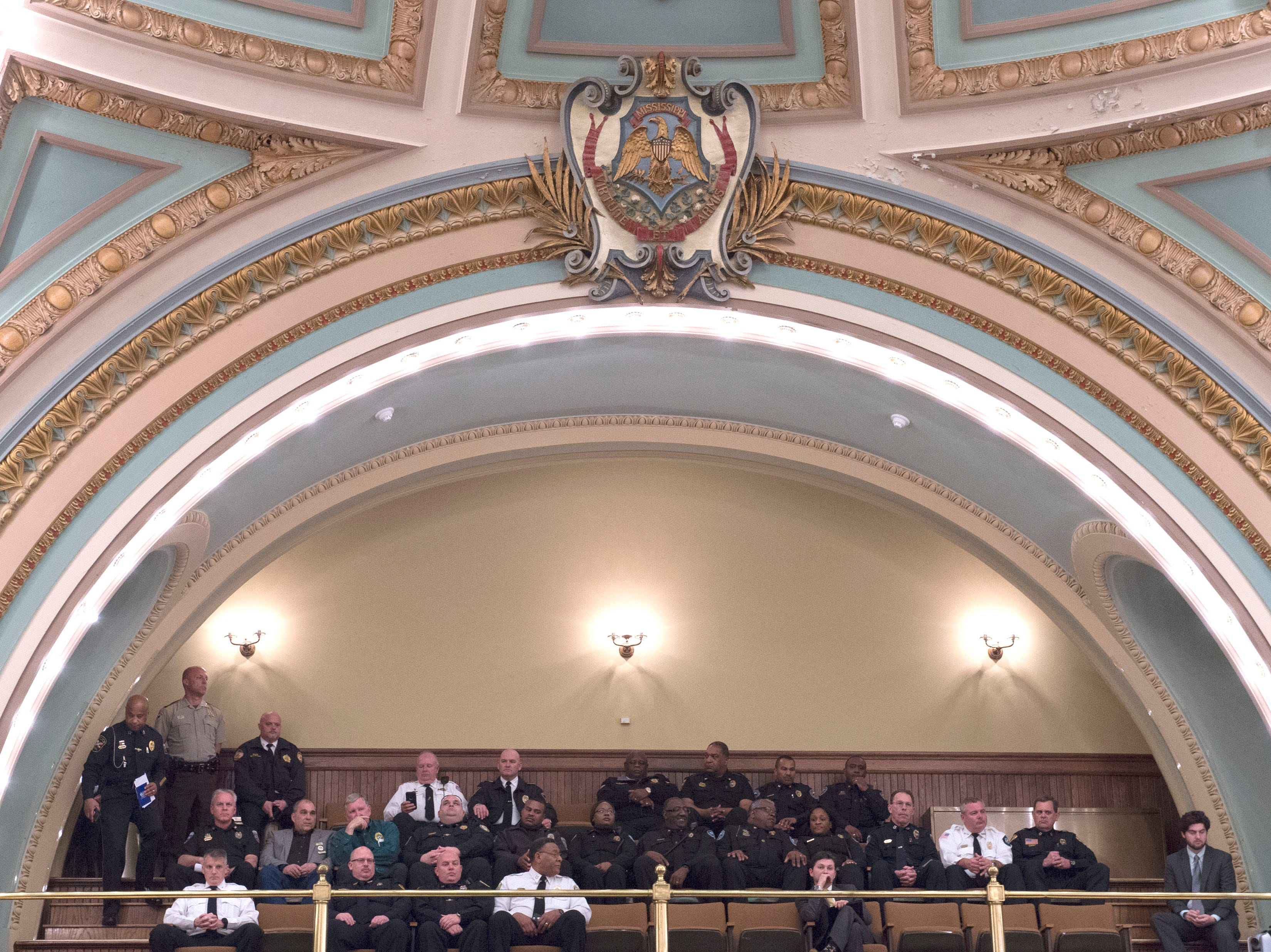 Law enforcement officers from across the state visited the capitol to show their support of HB1104, which seeks to reenact section 41-29-176, Mississippi code of 1972, establishing procedures allowing administrative forfeiture of certain property seized under the uniform controlled substances law. Monday, Jan. 28, 2019.