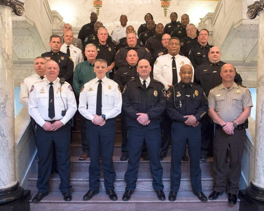 Law enforcement officers from across the state visited the state Capitol on Monday, Jan. 28, 2019, to show their support of HB 1104, which establishing procedures allowing administrative forfeiture of certain property seized under the uniform controlled substances law.