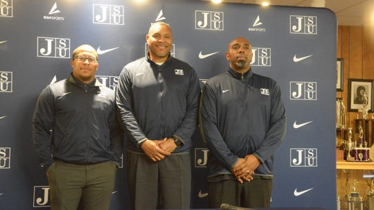 Jackson State defensive coordinator Lionel Stokes (left), head coach John Hendrick and offensive coordinator Ron Dickerson Jr.