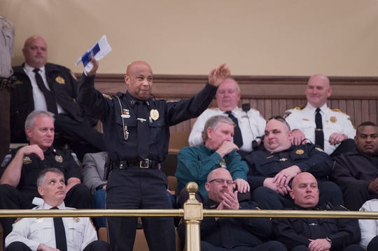 Natchez police chief Walter Armstrong is acknowledged by Miss. Leg. reps during a session of the house at the state capitol in Jackson. Law enforcement from across the state sat in the gallery of the house in support of HB1104. Monday, Jan. 28, 2019. HB1104 would reenact section 41-29-176, Mississippi code of 1972, establishing procedures allowing administrative forfeiture of certain property seized under the uniform controlled substances law. Monday, Jan. 28, 2019.