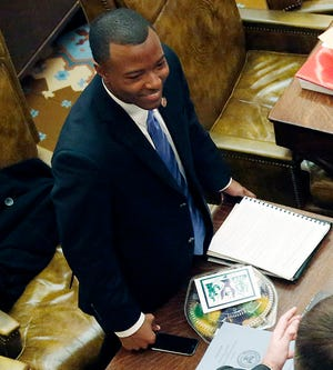 This 2014 photo shows Jeramey Anderson in the House chambers at the state Capitol in Jackson, Miss.
