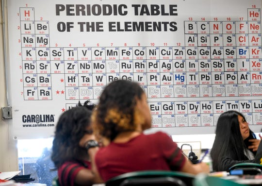 A giant poster for the Periodic Table of the Elements is draped in a window behind students in a science classroom at Jackson Central-Merry in Jackson, Tenn., on Tuesday, Jan. 29, 2019.