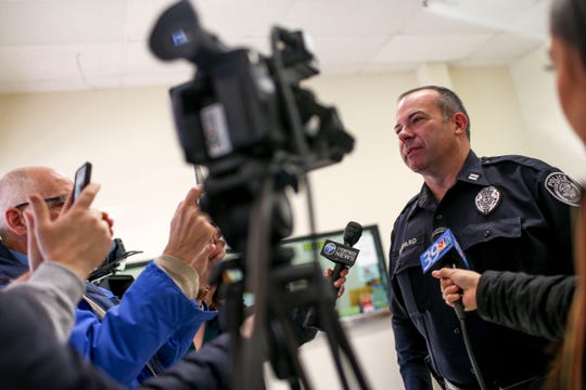 Jackson Police Captain Shepard answers questions from the media after the arraignment for John David Robison at Jackson City Court in Jackson, Tenn., on Tuesday, Jan. 29, 2019.