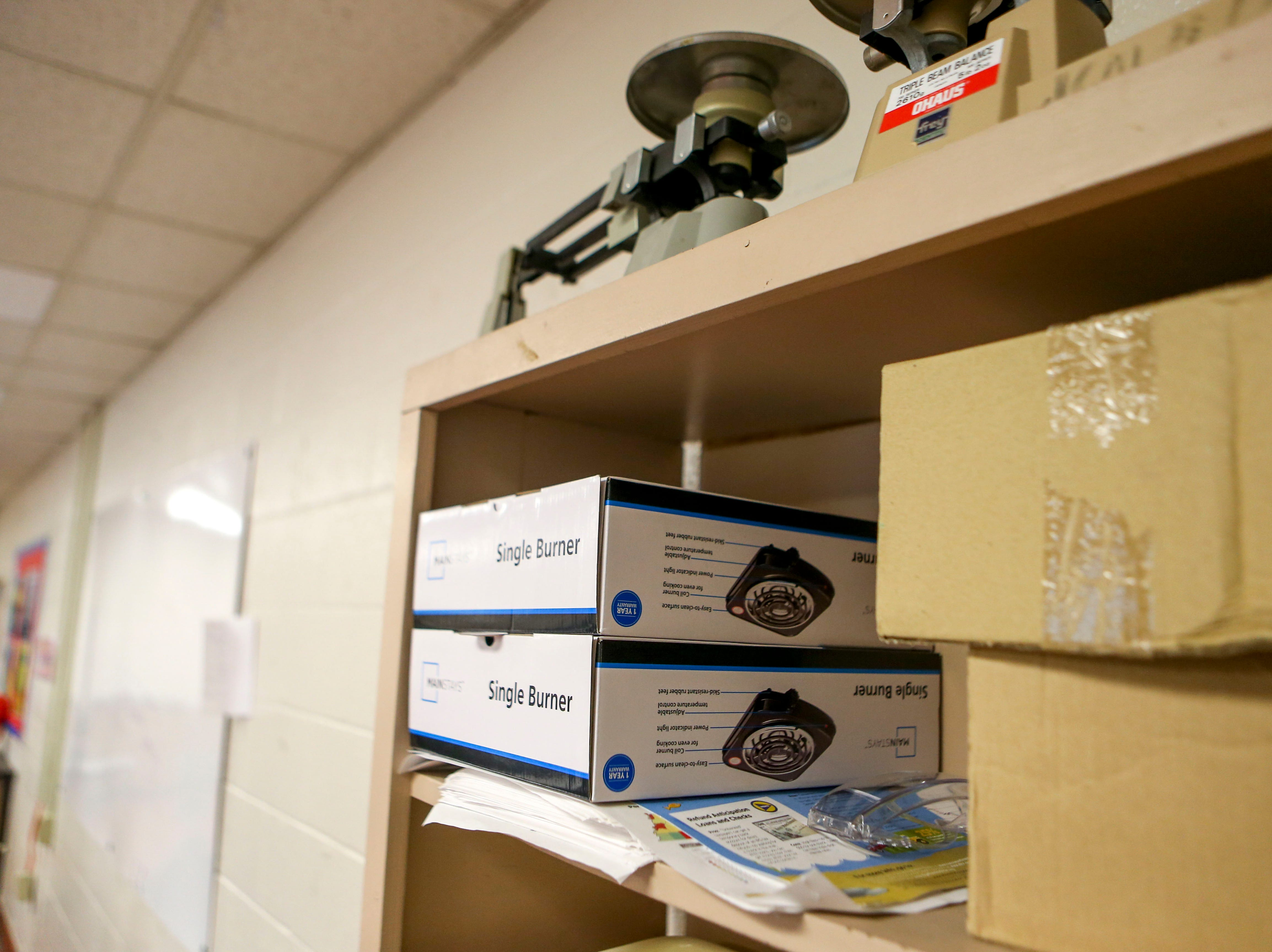 Various equipment can be seen lining the shelves of a science class at Jackson Central-Merry in Jackson, Tenn., on Tuesday, Jan. 29, 2019.