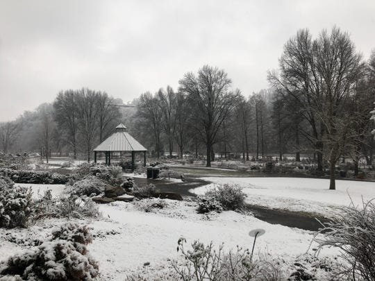 Snow falls at the University of Tennessee Institute of Agriculture Gardens on Tuesday, Jan. 29, 2019.