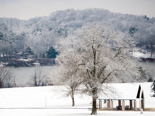 Snow scene at Lakeshore Park in Knoxville on Tuesday, January 29, 2019.