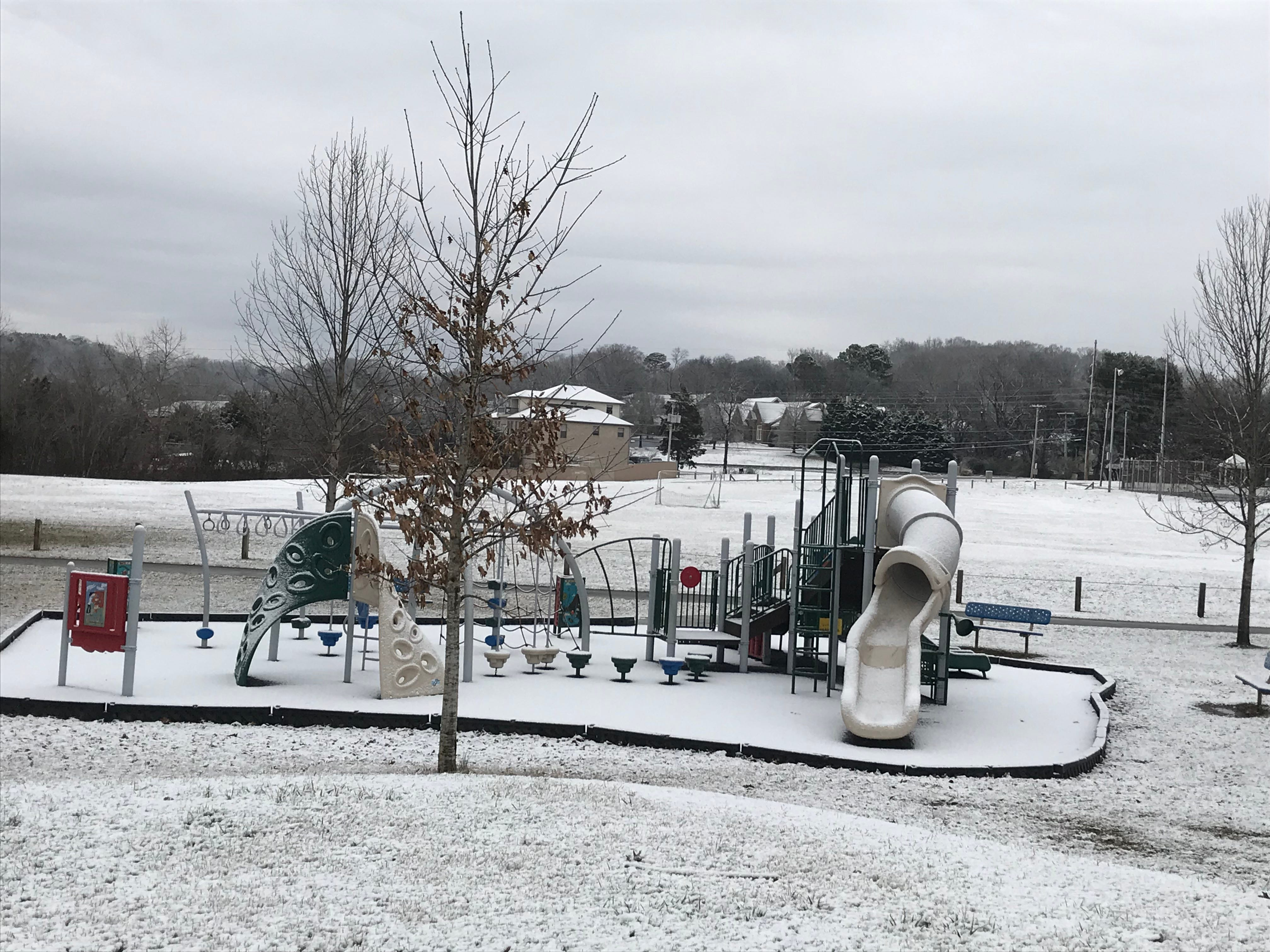 Play equipment is covered in snow at Carl Cowen Park after a light snowfall in Knoxville on Tuesday, Jan. 29, 2019.