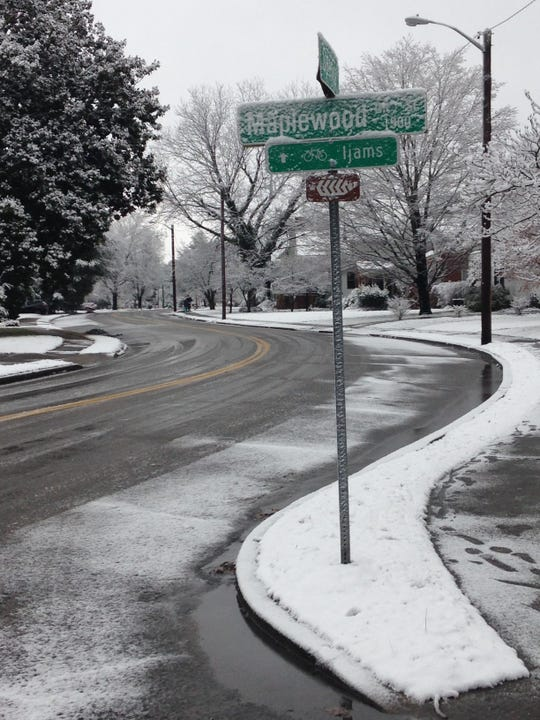 Snow covers sidewalks and yards in South Knoxville on Tuesday, Jan. 29, 2019.
