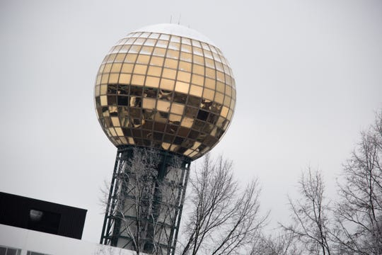 The Sunsphere in downtown Knoxville is dusted with snow on Jan. 29, 2019.