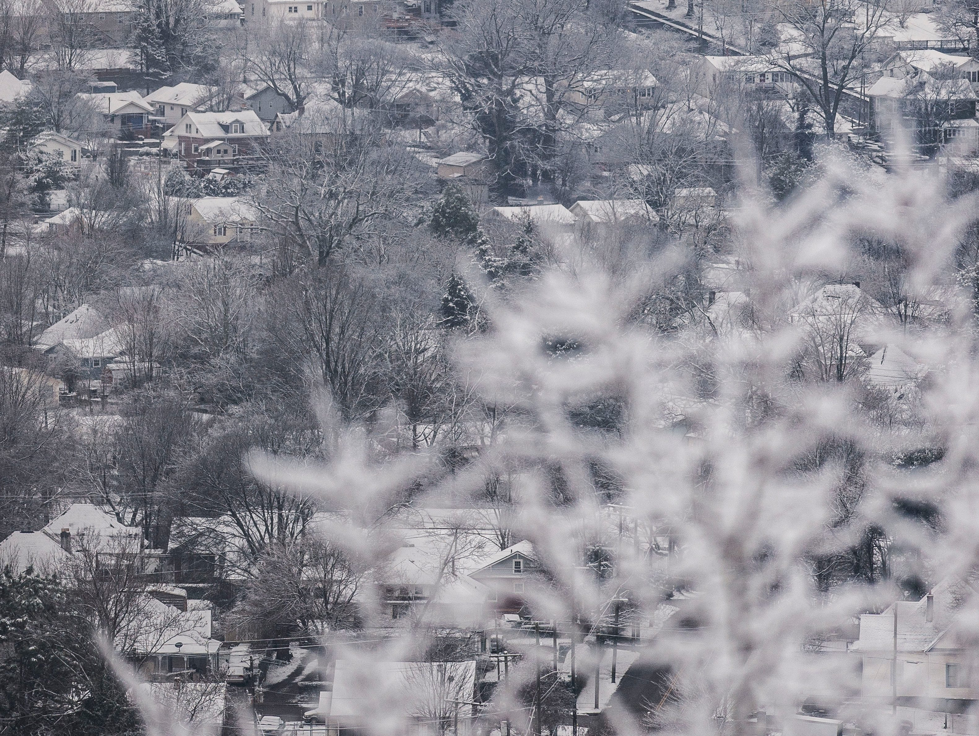The Sunsphere is seen from Sharps Ridge in North Knoxville Tuesday, Jan 29, 2019. The Knoxville area received about an inch of snow.