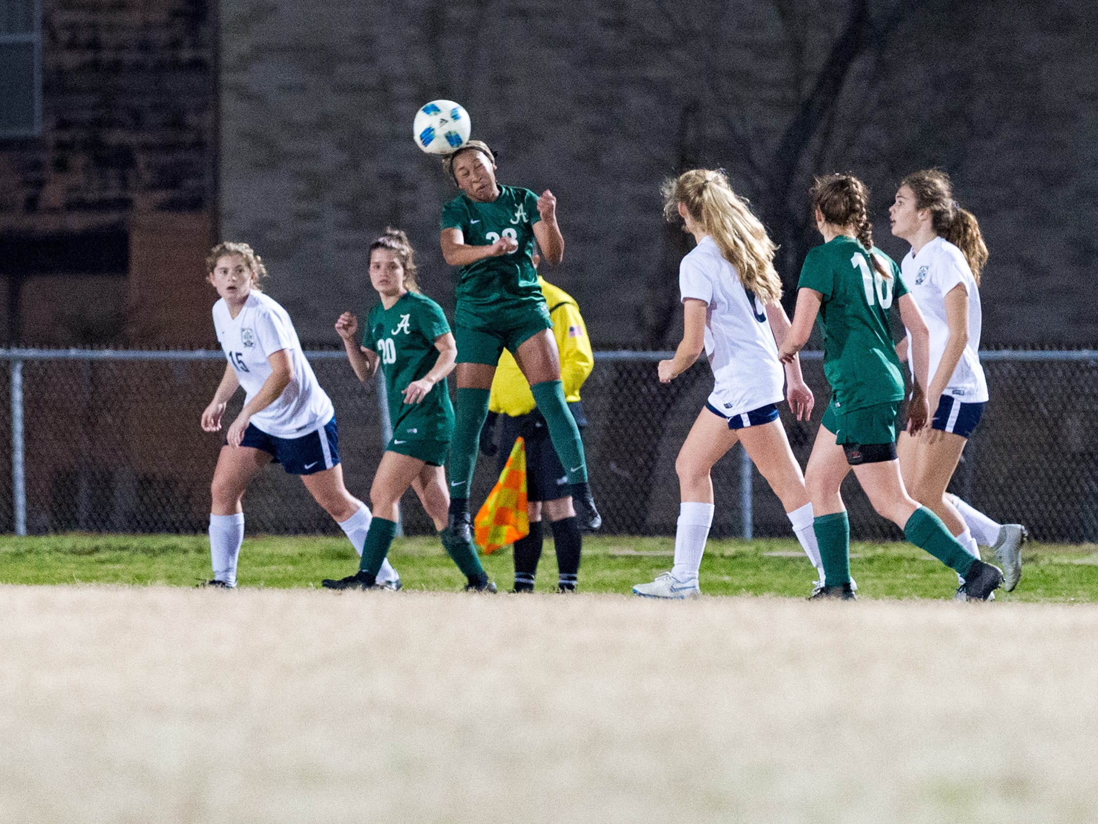 Rammie Noel header as Acadiana takes on STM girls soccer. Monday, Jan. 28, 2019.