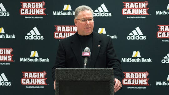 UL coach Tony Robichaux addresses reporters at Media Day on Tuesday.