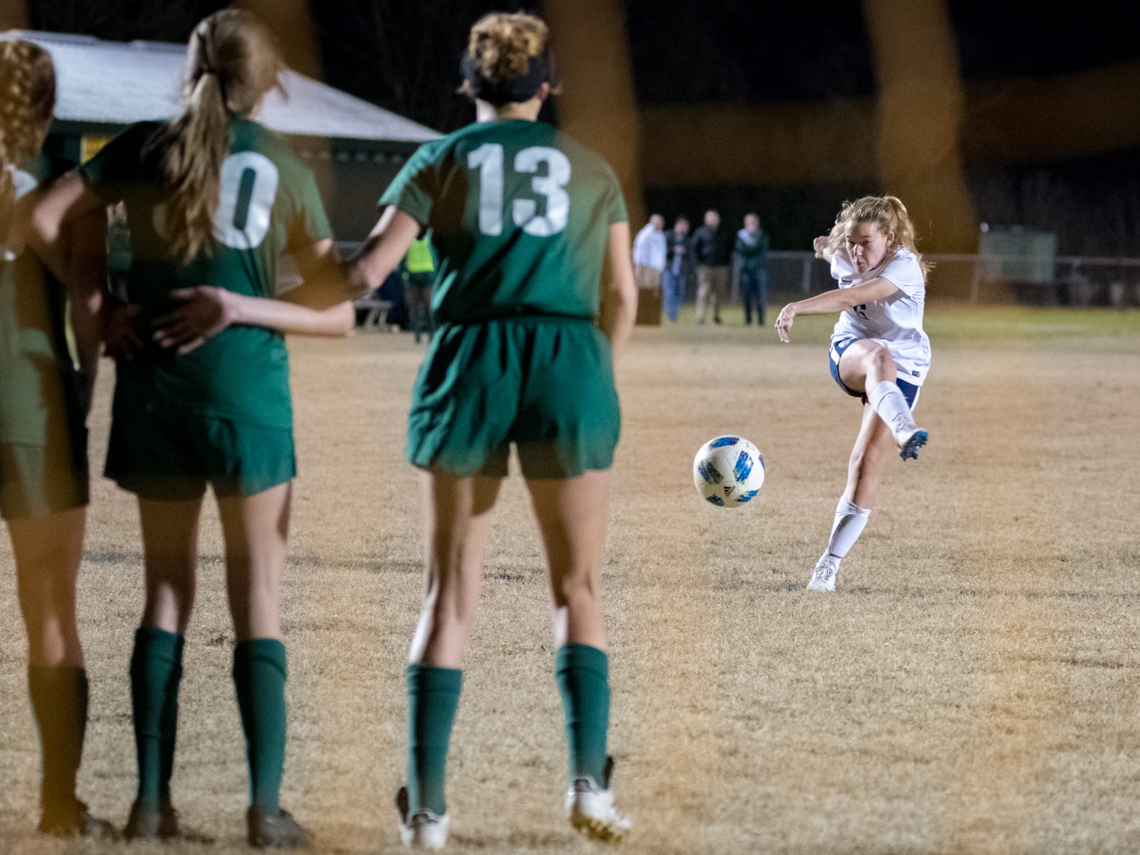 Avery Quoyeser scores a goal as Acadiana takes on STM girls soccer. Monday, Jan. 28, 2019.