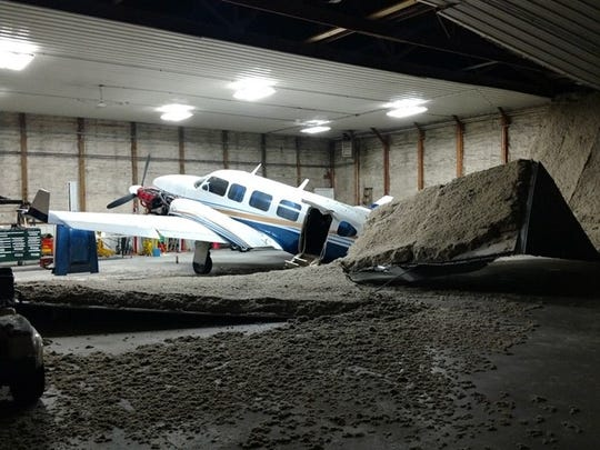 The Gorsuch Realty Piper Navajo Chieftain was damaged late last week when part of a hangar ceiling at the Fairfield County Airport fell on it.